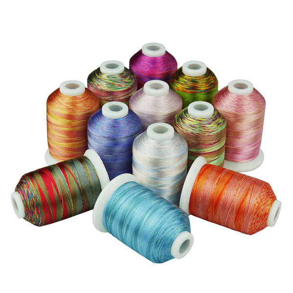 Variegated Polyester Embroidery Thread 120D 1100Yards 12Colors #2 S127-138 for Sewing Embroidery Machines