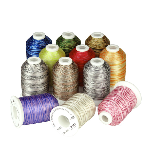 Variegated Polyester Embroidery Thread 120D 1100Yards 12Colors #3 S139-150 for Sewing Embroidery Machines