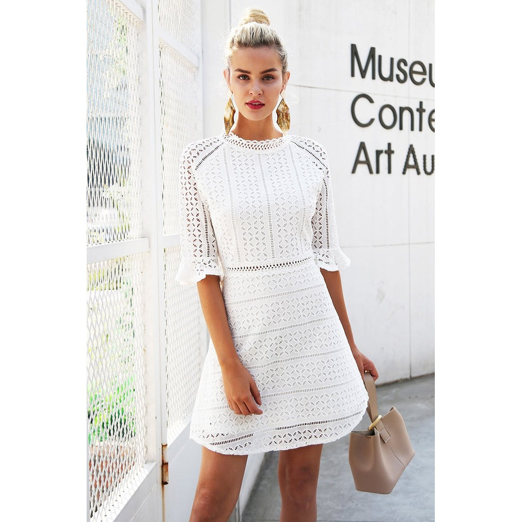 Vintage Hollow Out Elegant half Sleeve Midi Dress - Cheap Swimwear
