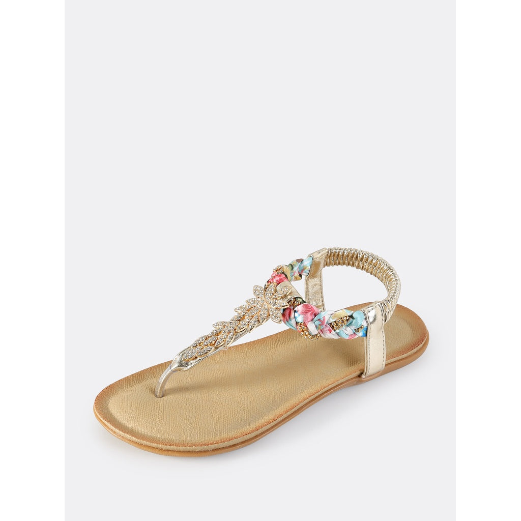 Multi Braid Embellished Thong Sandals GOLD - Cheap Swimwear