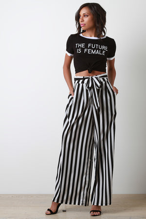 The Future Is Female Graphic Knotted Crop Tee - Cheap Swimwear