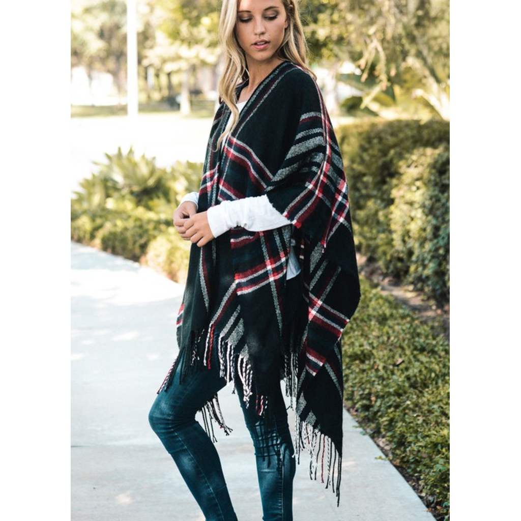 Saffron Plaid Ruana Poncho - Cheap Swimwear