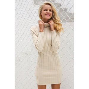 Turtleneck Long Bodycon Pullover Sweater - Cheap Swimwear