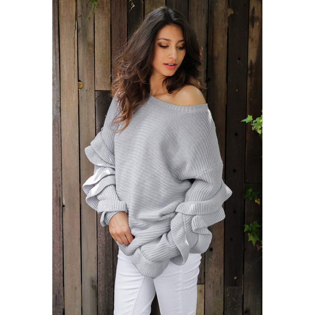 Round Neck Ruffle Loose Pull Sweater - Cheap Swimwear