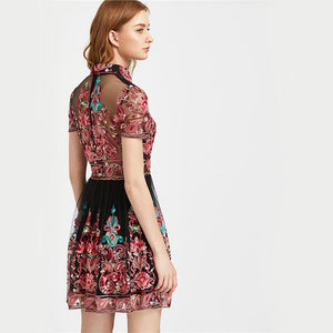 Embroidery Vintage Mesh Overlay Party Dress - Cheap Swimwear