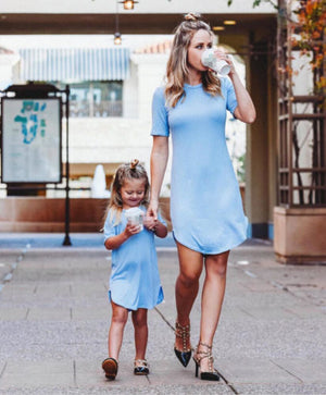Mother and Daughter Casual Boho Short Dress - Cheap Swimwear