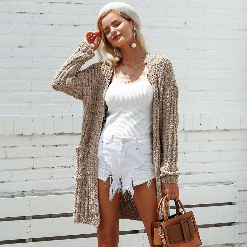 Beige Knit Long Cardigan Sweater - Cheap Swimwear