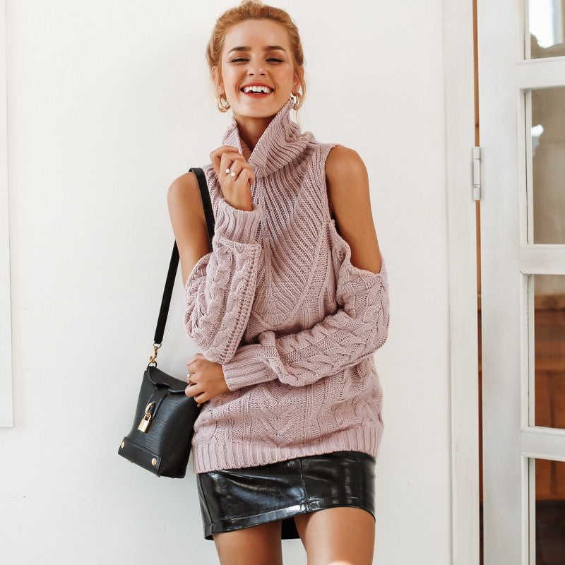 Turtleneck Open Shoulder Sweater - Cheap Swimwear