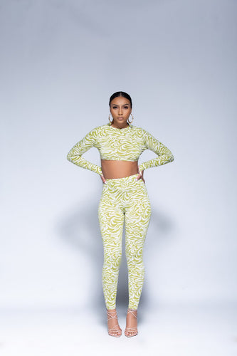 LIME PALAZZO PANTS SET - So Plush Boutique