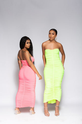 NEON LIME RUCHED MIDI DRESS - So Plush Boutique