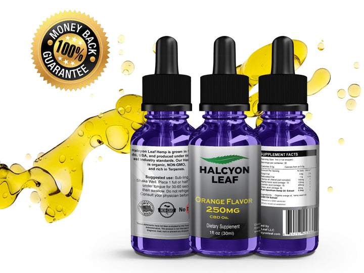 HALCYON LEAF CBD 250 MG ORANGE FLAVORED TINCTURE - ZERO THC