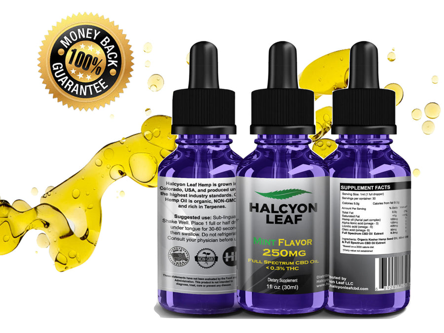 HALCYON LEAF CBD 250 MG FULL SPECTRUM NATURAL or MINT FLAVORED TINCTURE  <0.3% THC