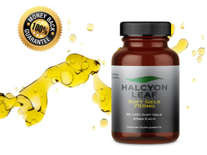 HALCYON LEAF CBD 750 MG SOFT GELS - ZERO THC CBD HEMP SUPPLEMENT
