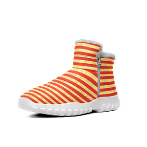 Elegant Gold Foil And Red Stripe Pattern  Snow Boots Outdoor