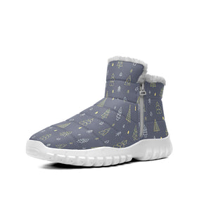 Dark Blue Background With Gold Christmas Tree Pattern Snow Boots Outdoor