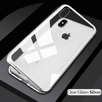 Magnetic Glass iPhone Case - Clear Silver / For iPhone 8 plus / With Front Glass - Phone