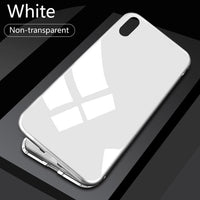 Magnetic Glass iPhone Case - Full Silver / For iPhone 8 plus / With Front Glass - Phone