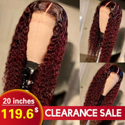 1b/99J Burgundy Ombre Lace Wigs Human Hair Wig 20inch