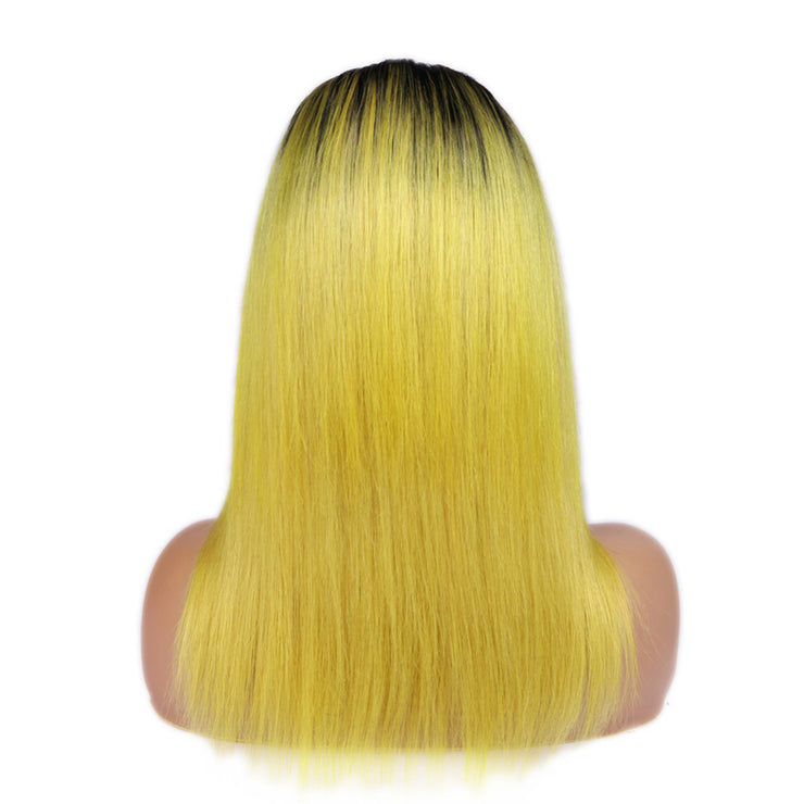 1B/Yellow Straight Long Lace Front Human Hair Wig-WIGNICE-Human Hair Wigs