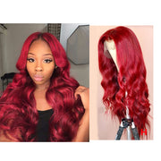 Lace Front Human Hair Wigs Loose Wave Red 22inch