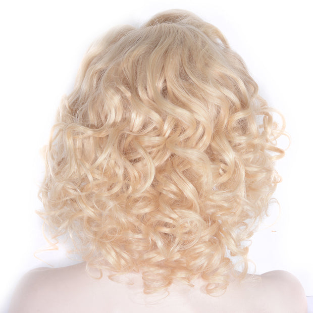 Blonde Curl Wig Bob Lace Front Human Hair Wigs 12 Inch-WigNice-12inches-China-Human Hair Wigs