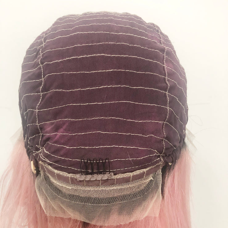 1b/Pink Bob Lace Front Human Hair Wigs 10 Inch