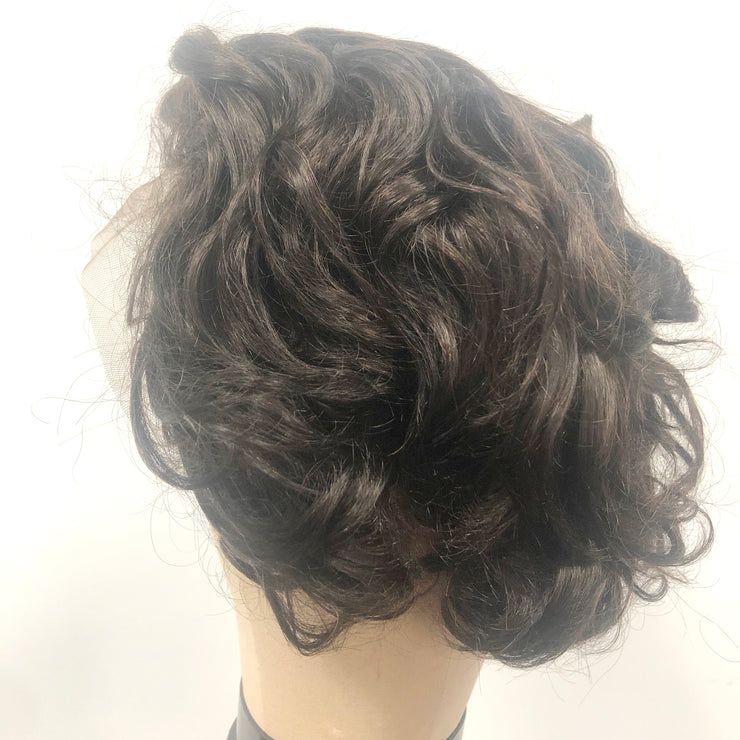 #2 Brown Pixie Wig Lace Front Human Hair Wigs 8inch