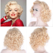 Blonde Curl Wig Bob Lace Front Human Hair Wigs 12 Inch