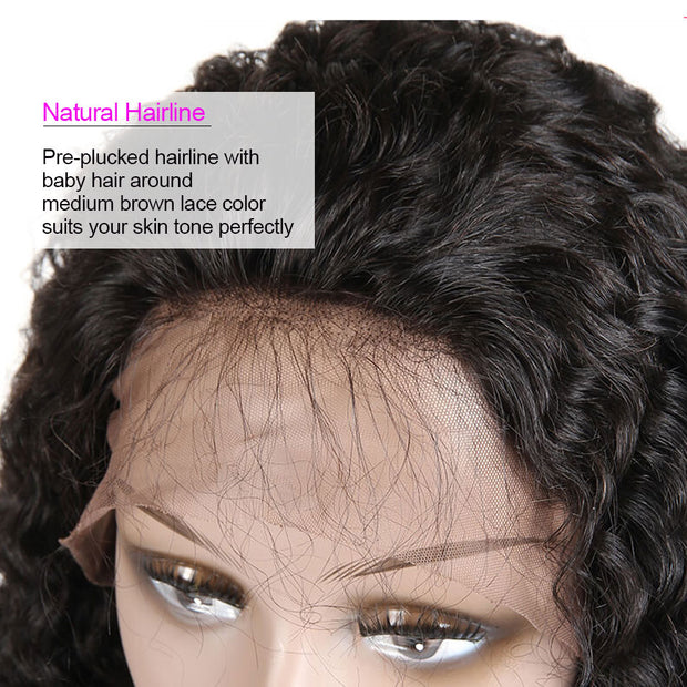 250% Water Wave Culy Wigs Lace Front Human Hair Wigs Natural Color (10A)-WigNice-Human Hair Wigs