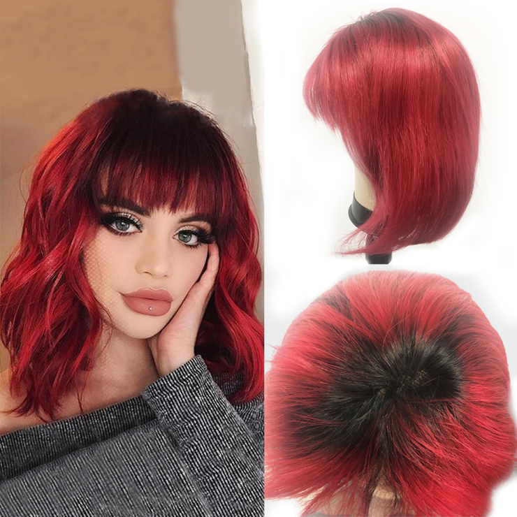 1B/Red Bob Lace Wig With Bangs Human Hair Wigs 10inch