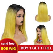 1B/Yellow Straight Lace Front Human Hair Wig 22inch