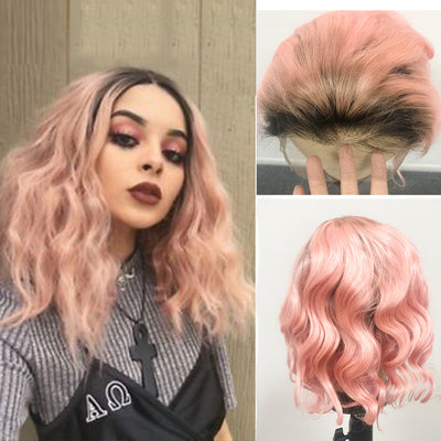 Wavy 1b/pink Lace Front Human Hair Wig 14inch