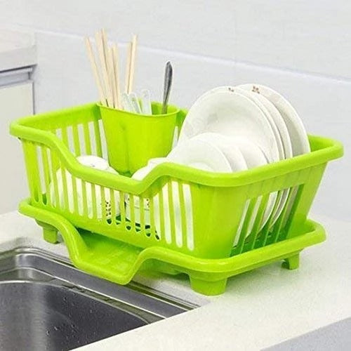 AMEXTRIAN Plastic Kitchen Sink Dish Drainer Drying Rack Washing Holder Basket, Random Colour