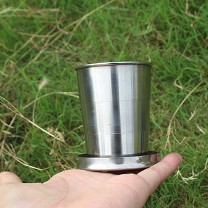 Travel Cup Folding Cup for  Outdoor Travel Travel Stainless Steel Portable Retractable Metal Mini Glass Telescopic Folded Mug
