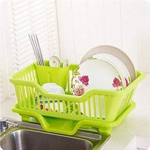 Load image into Gallery viewer, AMEXTRIAN Plastic Kitchen Sink Dish Drainer Drying Rack Washing Holder Basket, Random Colour