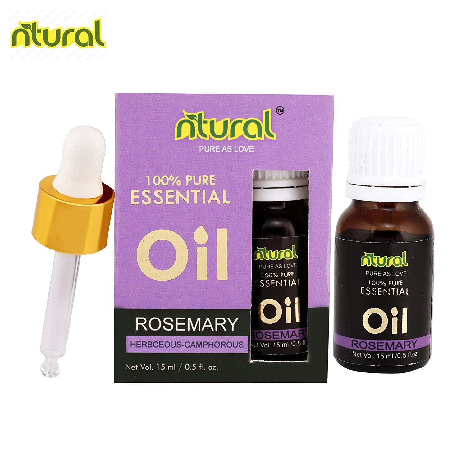 Rosemary 100% Pure, Best Therapeutic Grade Essential Oil - 15Ml by Ntural