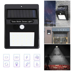 Bright Waterproof Solar Wireless Security Motion Sensor LED Night Light for Home Outdoor/Garden Wall (Black) (20-LED Lights)