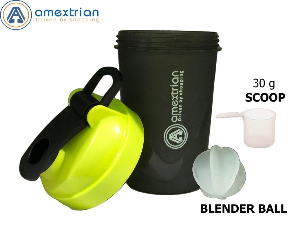 Gym Shaker Bottle, 100% Leak Proof Guarantee, Ideal for Protein, Pre Workout and BCAAs, BPA Free Material - 400ml