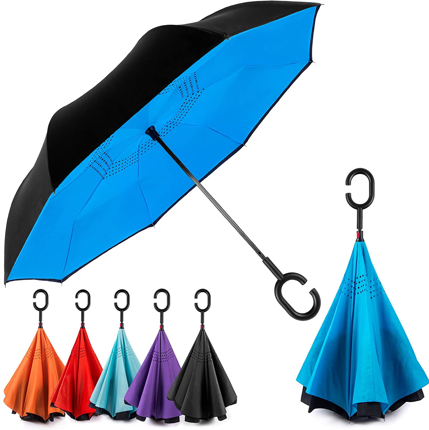 Ultra Light Compact Windproof Folding Double Layer Inverted Reversible Umbrellas with C Shape Handle (Assorted)
