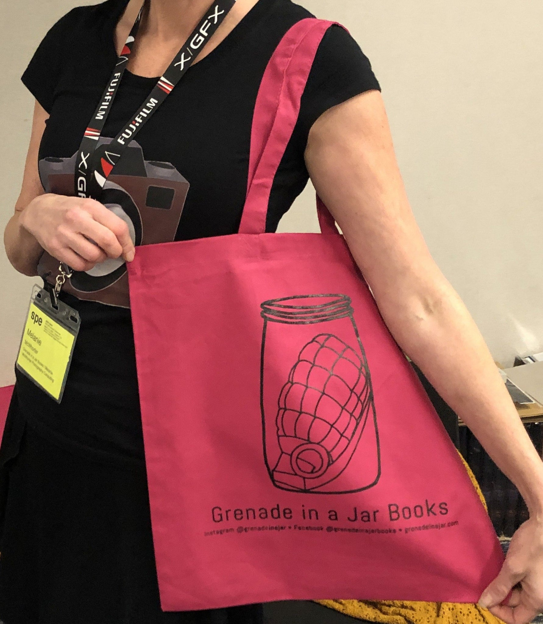 Grenade in a Jar screen printed cloth tote bag