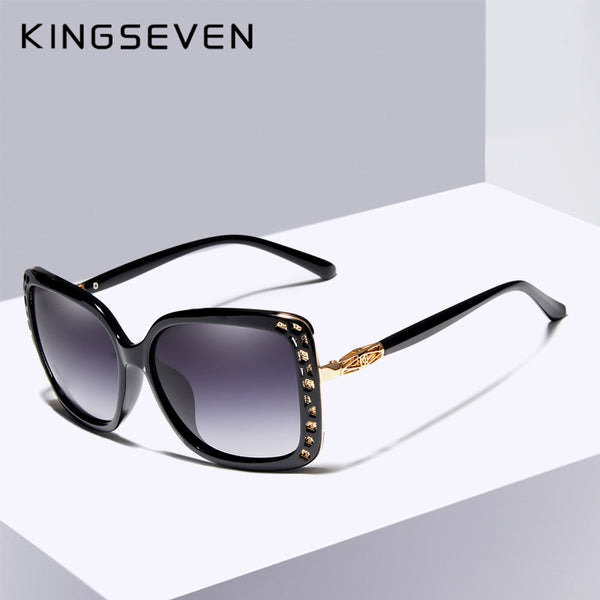 KINGSEVEN  Designer Oval Sunglasses Butterfly Frame Summer Gradient Lens