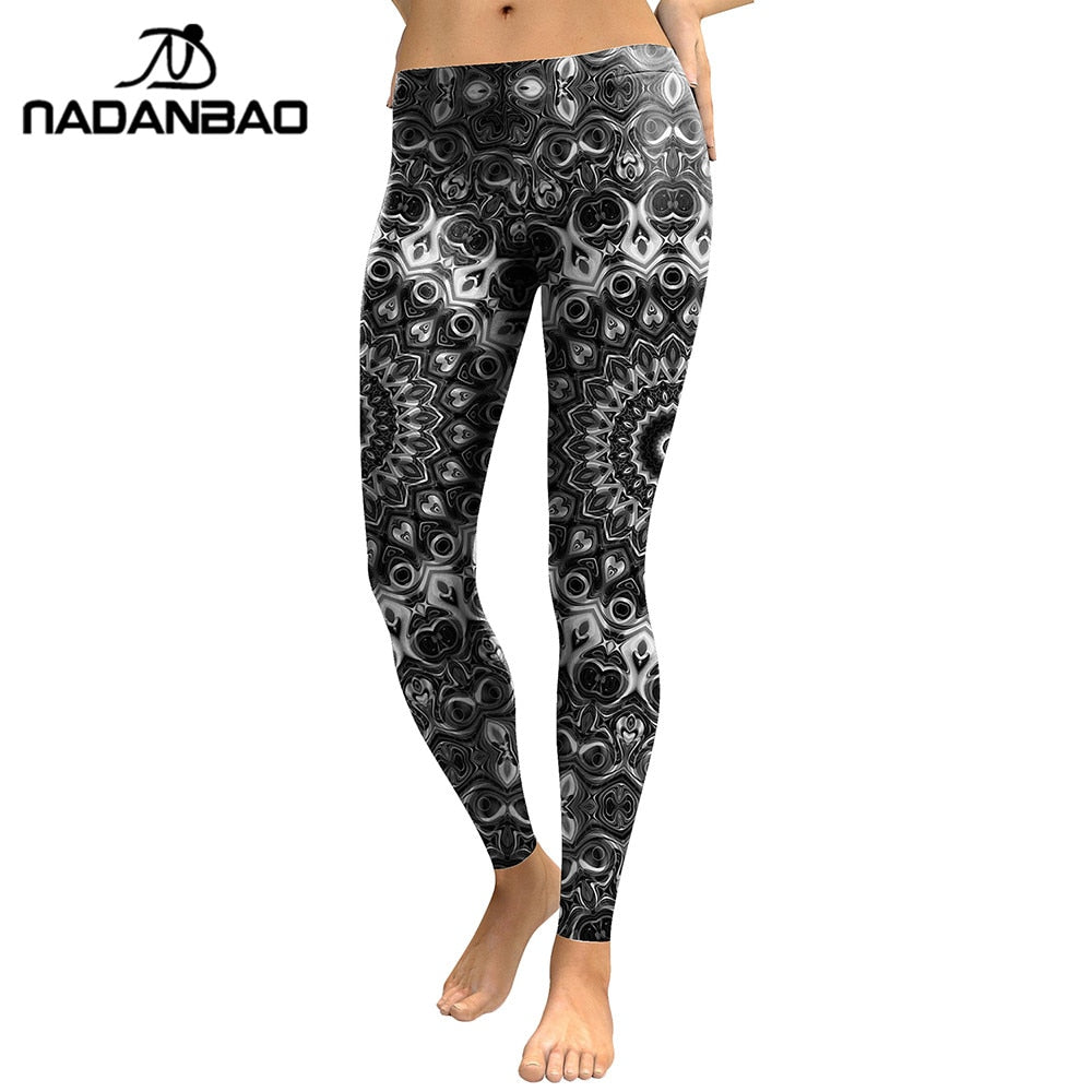 Leggings Women Mandala Flower Digital Print Skeleton Leggins