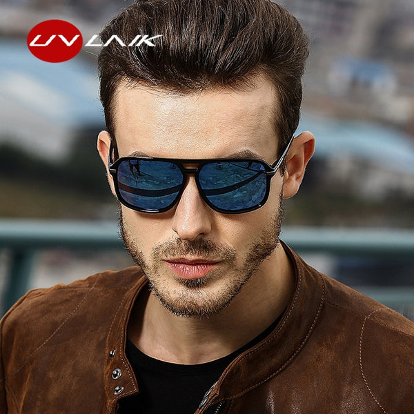 UVLAIK Sunglasses Men Polarized Oversized Mirror Driving Sun Glasses
