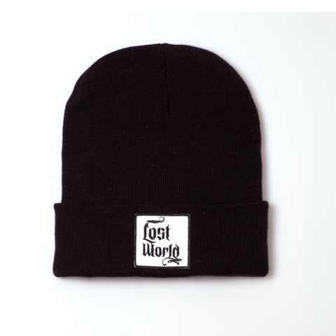 Black with White Label Beanie