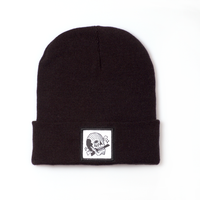 Black with Black Skull Patch Beanie