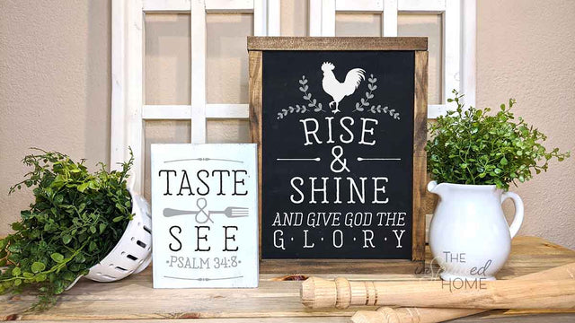 The Inspirited Home - Kitchen Decor - Rise and Shine and Give God the Glory Sign - Kitchen Wall Decor - Dining Room Signs | Dining Room Wall Decor | Kitchen Signs - Kitchen and Dining Room - kitchen wall decor farmhouse