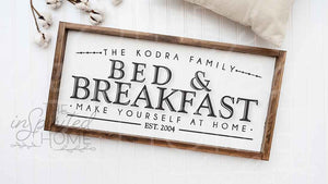 Bed and Breakfast Wooden Sign