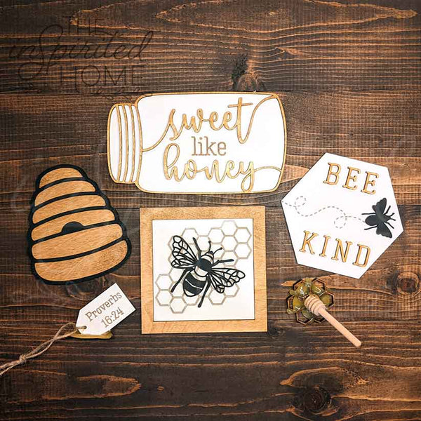 Bee Tiered Tray Decor - Set of 6