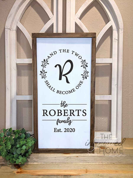 And The Two Shall Become One - Personalized Christian Family Sign