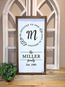 Be Devoted To One Another in Love - Personalized Christian Family Sign